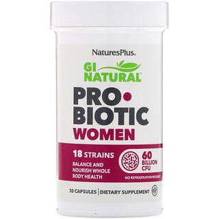 Nature's Plus, المعينات الحيوية البكتيرية GI Natural Probiotic للنساء، تركيز 60 مليار وحدة عد مستعمرات، 30 كبسولة