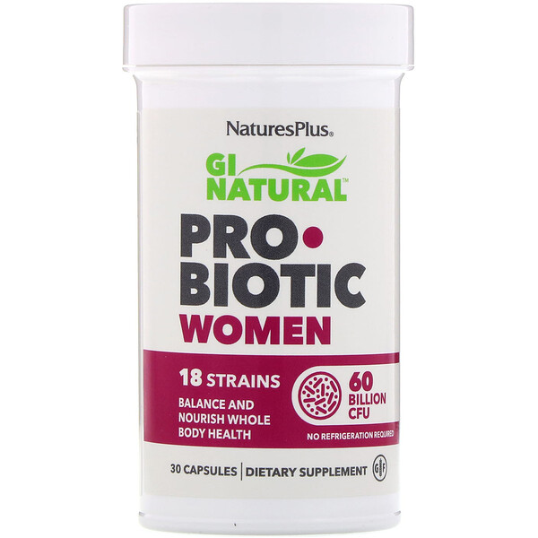 Nature's Plus, GI Natural Probiotic Women, 60 Bilhões de UFCs, 30 Cápsulas