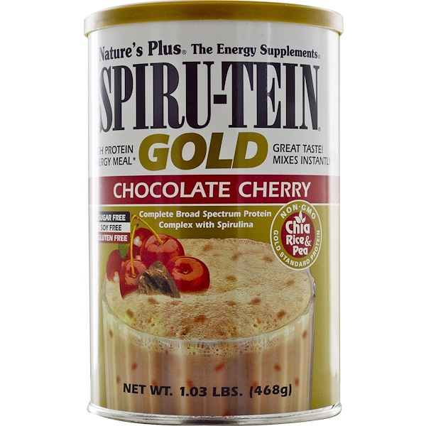 Nature's Plus, Spiru-Tein Gold, High Protein Energy Meal, Chocolate Cherry, 1.03 lbs (468 g) (Discontinued Item)