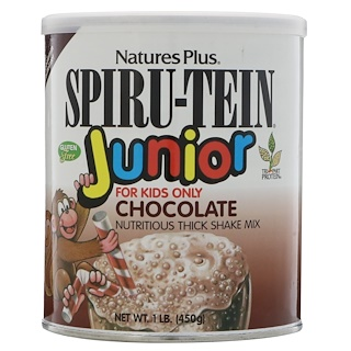 Nature's Plus, Spiru-Tein Junior, Nutritious Milk Shake Mix, Chocolate, 1 lb (450 g)
