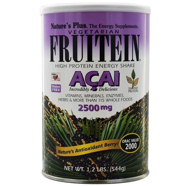 Nature's Plus, Fruitein, High Protein Energy Shake, Acai, 2500 mg, 1.2 lbs (544 g) (Discontinued Item)