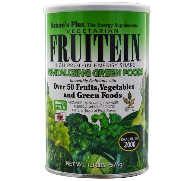 Nature's Plus, Fruitein高蛋白粉,活力煥發紅色水果口味,1、3磅(576克)