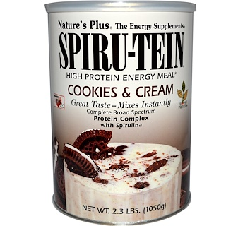 Nature's Plus, Spiru-Tein, High Protein Energy Meal, Cookies & Cream, 2.3 lbs (1050 g)