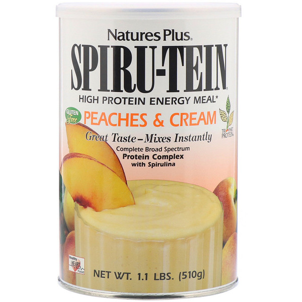 Nature's Plus, Spiru-Tein, High Protein Energy Meal, Peaches & Cream, 1.1 lbs (510 g)