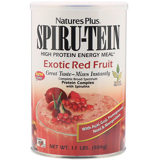 Nature's Plus, Spiru-Tein, High Protein Energy Meal, Exotic Red Fruit, 1.1 lbs (504 g)
