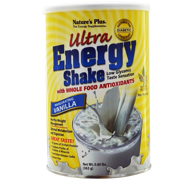 Nature's Plus, Ultra Energy Shake, Invigorating Vanilla, 0.80 lbs (363 g) (Discontinued Item)