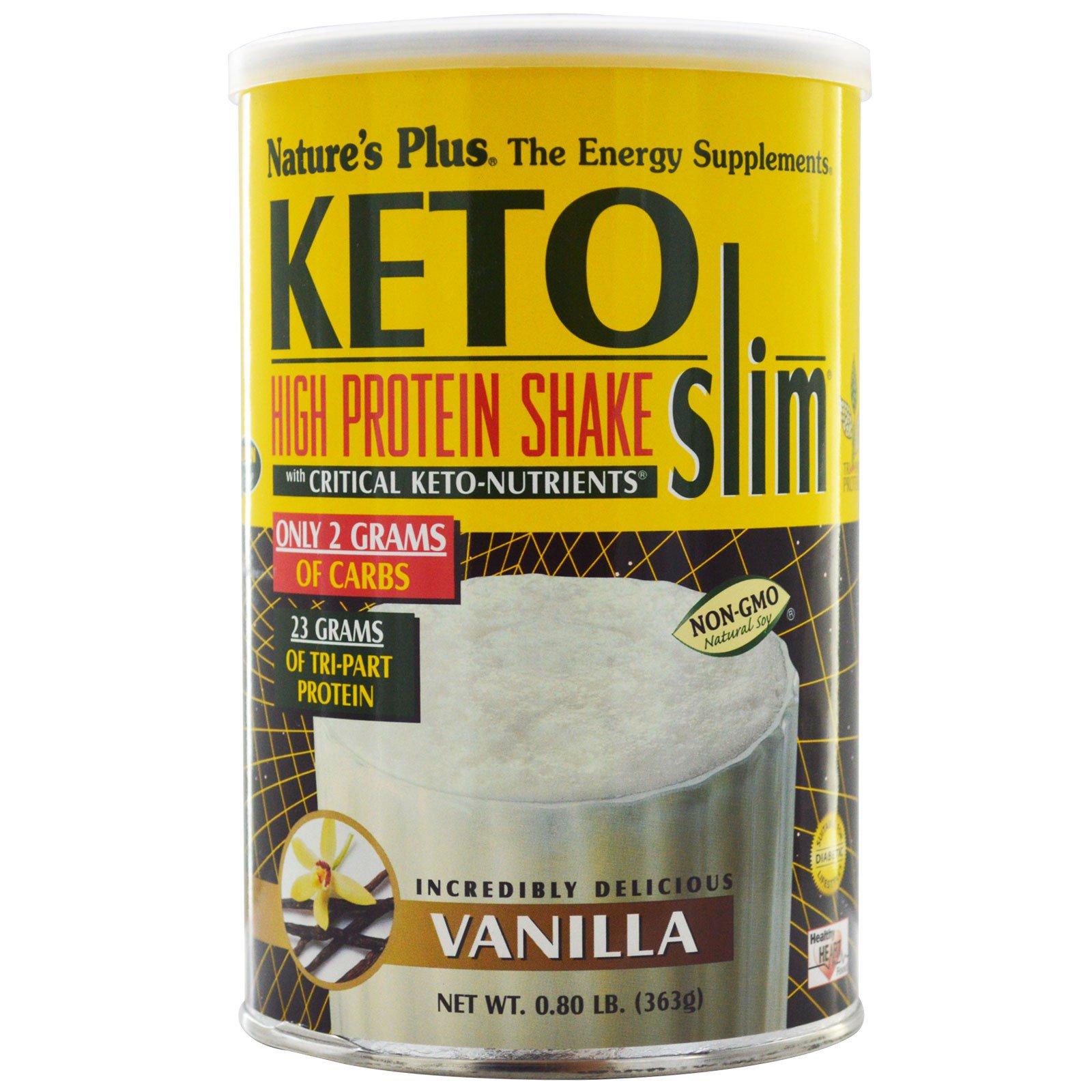 Nature's Plus, Keto Slim, насыщенный протеиновый коктейль, ваниль, 0,80 фунта (363 г)