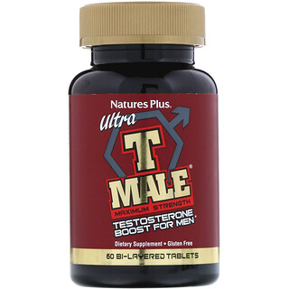 Nature's Plus, Ultra T-Male, Testosterone Boost for Men, Maximum Strength, 60 Bi-Layered Tablets