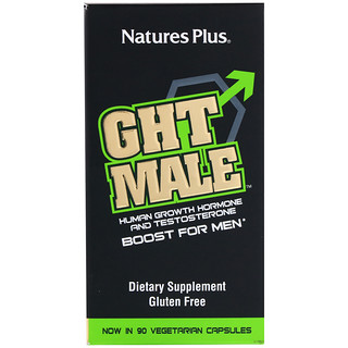 Nature's Plus, GHT Male, Human Growth Hormone And Testosterone Boost For Men, 90 Vegetarian Capsules