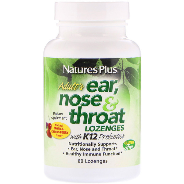 Adult's Ear, Nose & Throat Lozenges, Natural Tropical Cherry Berry, 60 Lozenges