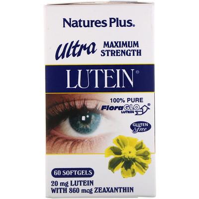 Ultra Lutein, максимальная сила, 20 мг, 60 мягких желатиновых капсул