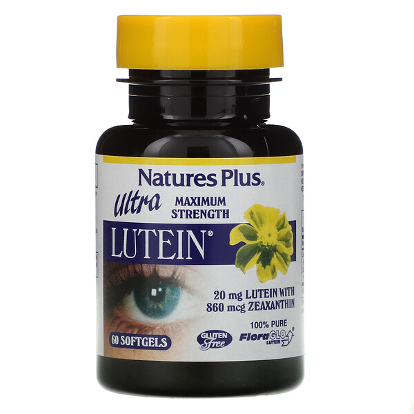 "Nature's Plus, Ultra Lutein, חוזק מרבי, 20 מ""ג, 60 כמוסות ג'ל"