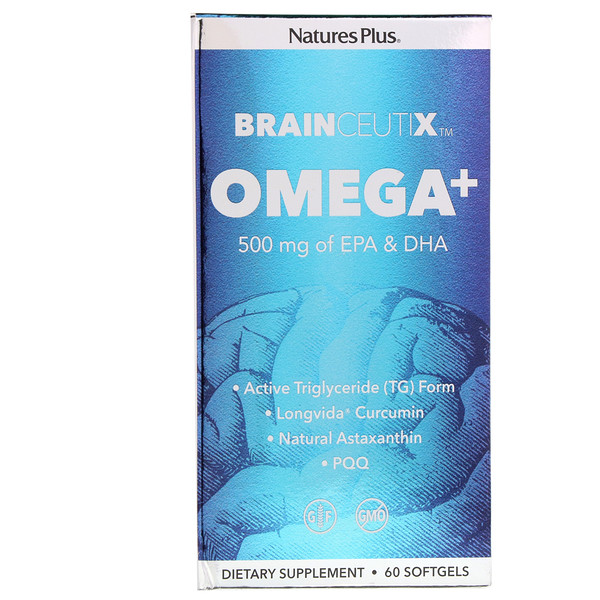 Nature's Plus, Brainceux, Omega+, 500 mg, 60 Kapseln (Discontinued Item)