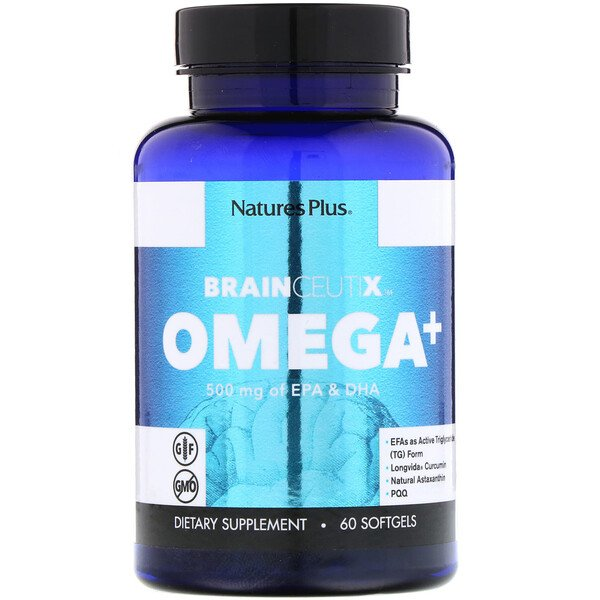 Nature's Plus, Brainceutix, Oméga +, 500 mg, 60 Gélules (Discontinued Item)