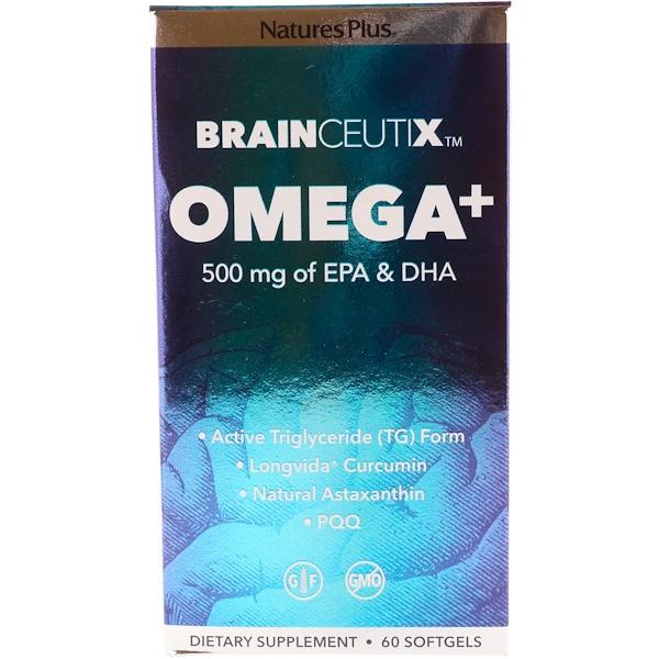 Nature's Plus, Brainceutix,Omega+,500毫克,60粒
