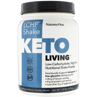 Nature's Plus, KetoLiving, LCHF Shake, Delicious Natural Vanilla Flavor, 1.27 lb (578 g)