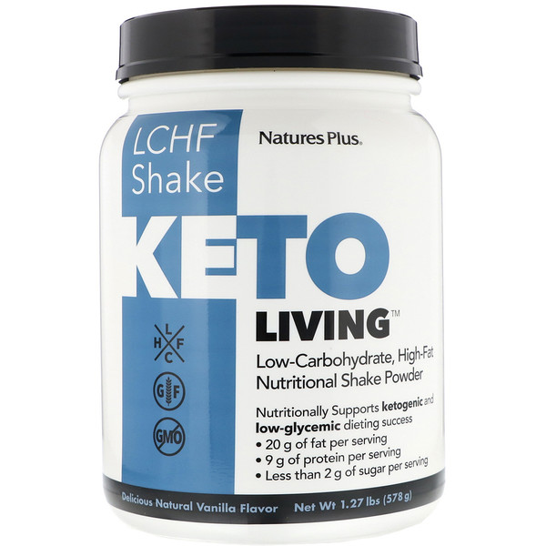 Nature's Plus, KetoLiving, LCHF Shake, Delicious Natural Vanilla Flavor, 1.27 lbs (578 g) (Discontinued Item)