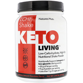 Nature's Plus, KetoLiving, LCHF Shake, Delicious Natural Chocolate Flavor, 1.49 lbs (675 g)