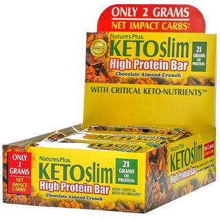 Nature's Plus, KETOslim,高蛋白棒,巧克力杏仁碎,12 根,每根 2.1 盎司(60 克)