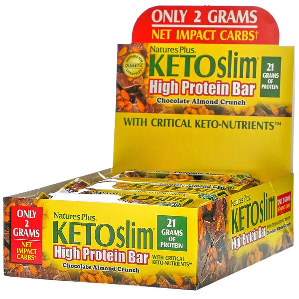 Nature's Plus, KETOslim, Barrita proteica, Crocante de chocolate y almendras, 12barritas, 60g (2,1oz) cada una