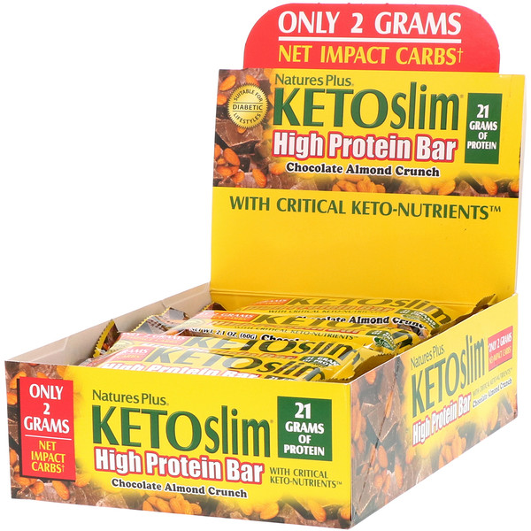 Nature's Plus, KETOslim, High Protein Bar, Chocolate Almond Crunch, 12 Bars, 2.1 oz (60 g) Each