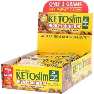 Натурес Плюс, KETOslim, High Protein Bar, Chocolate Almond Crunch, 12 Bars, 2.1 oz (60 g) Each отзывы
