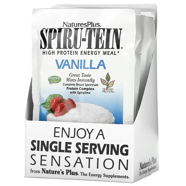 Nature's Plus, Spiru-Tein, High Protein Energy Meal, Vanilla, 8 Packets, 1.2 oz (34 g) Each