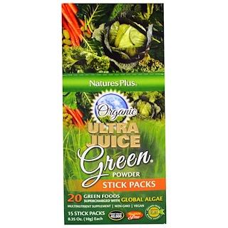 Nature's Plus, Organic Ultra Juice Green Powder Stick Packs, 15 Stick Packs, 0.35 oz (10 g) Each