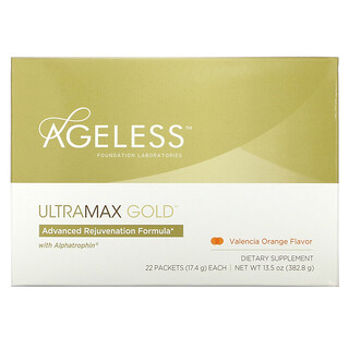 Ageless Foundation Laboratories, UltraMax Gold, Advanced Rejuvenation Formula with Alphatrophin, Valencia Orange Flavor, 22 Packets, 17.4 g Each