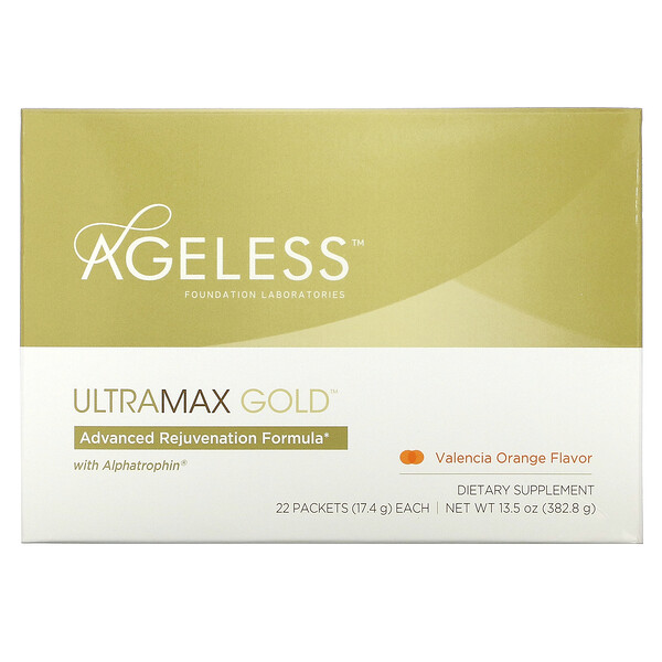 Ageless Foundation Laboratories, UltraMax Gold, Advanced Rejuvenation Formula with Alphatrophin, Valencia Orange Flavor, 22 Packets, 17.4 g Each