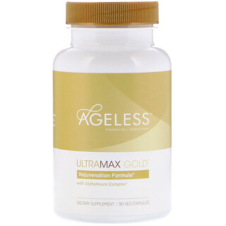 Ageless Foundation Laboratories, UltraMax Gold with AlphaNeuro Complex, 90 Veg Capsules