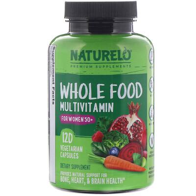 Купить NATURELO Мультивитамины из цельных продуктов для женщин старше 50лет, 120растительных капсул