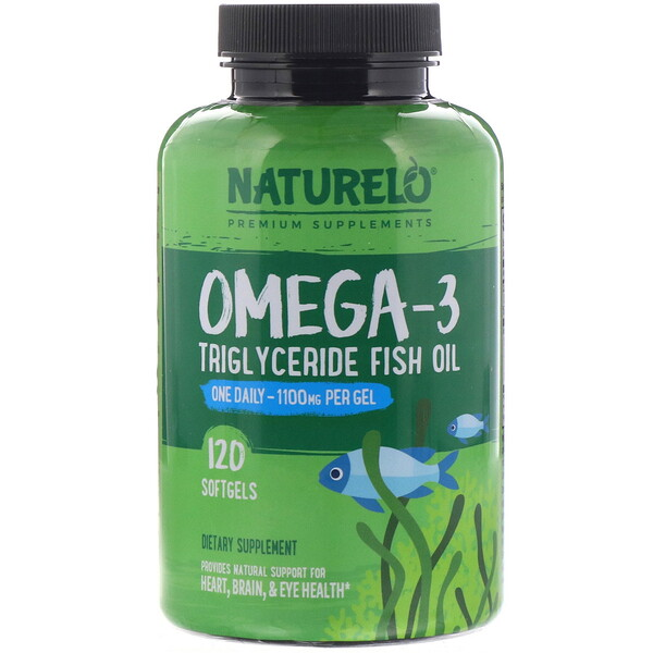 NATURELO, Omega-3 Triglyceride Fish Oil, 1,100 mg, 120 Softgels