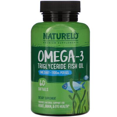 Купить NATURELO Omega-3, Triglyceride Fish Oil, 1, 100 mg, 60 Softgels