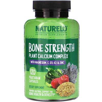 Купить NATURELO Bone Strength, Plant-Based Calcium Complex, 120 Vegetarian Capsules