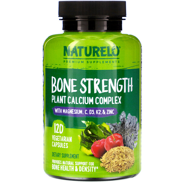 NATURELO, Bone Strength, Plant-Based Calcium Complex, 120 Vegetarian Capsules
