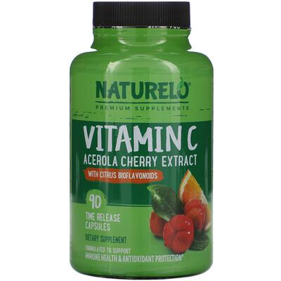 Купить NATURELO Vitamin C, Acerola Cherry Extract with Citrus Bioflavonoids, 90 Time Release Capsules
