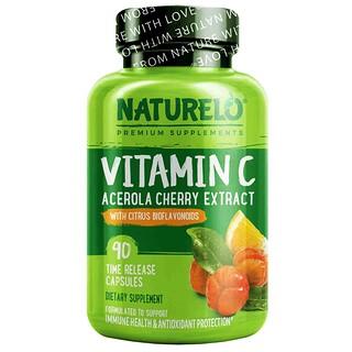 NATURELO, فيتامين جـ، مستخلص الكرز الهندي وفلافونويدات حيوية حمضية، 90 كبسولة تدريجية الإطلاق