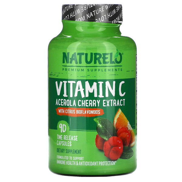 NATURELO, Vitamin C, Acerola Cherry Extract with Citrus Bioflavonoids, 90 Time Release Capsules
