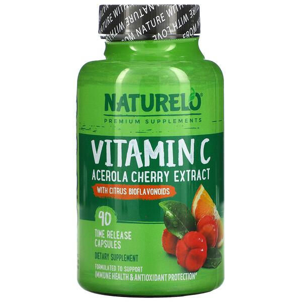 Vitamin C, Acerola Cherry Extract with Citrus Bioflavonoids, 90 Time Release Capsules