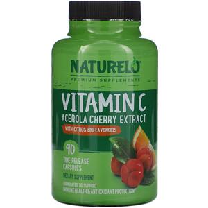 NATURELO, Vitamin C, Acerola Cherry Extract with Citrus Bioflavonoids, 90 Time Release Capsules