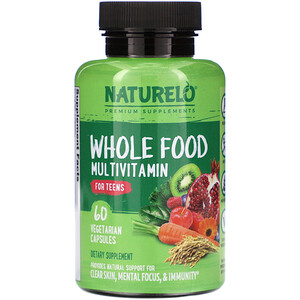 NATURELO, Whole Food Multivitamin for Teens, 60 Vegetarian Capsules