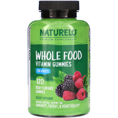 NATURELO Whole Food Vitamin Gummies for Adults, Berry Flavored, 120 Gummies