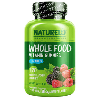 NATURELO, Whole Food Vitamin Gummies For Adults, Berry, 120 Gummies