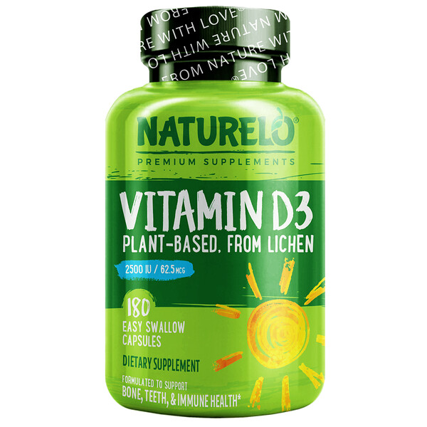 Vitamin D3, Plant-Based from Lichen, 62.5 mcg (2,500 IU), 180 Easy Swallow Capsules