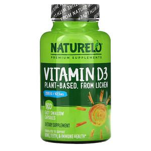 NATURELO, Vitamin D3, Plant-Based from Lichen, 62.5 mcg (2,500 IU), 180 Easy Swallow Capsules