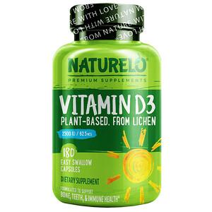 NATURELO, Vitamin D3, Plant-Based from Lichen, 62.5 mcg (2,500 IU), 180 Easy Swallow Capsules'
