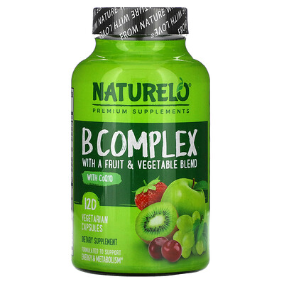 NATURELO B Complex with a Fruit & Vegetable Blend, With CoQ10, 120 Vegetarian Capsules