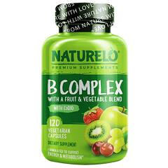 NATURELO, B 複合物,含果蔬混合物,含輔酶 Q10,120 粒素食膠囊