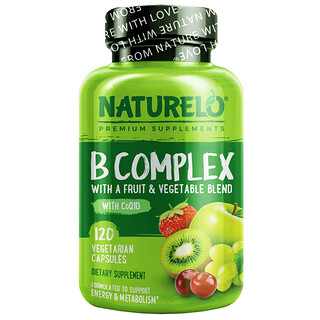NATURELO, B Complex with a Fruit & Vegetable Blend, With CoQ10, 120 Vegetarian Capsules